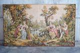 Large framed needlepoint tapestry - Victorian romantic scene of courtship and frolic by the lake
