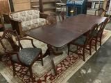 Gorgeous antique Duncan Phyfe style long dining table w/ pedestal bases, 3 leaves & 6 chairs
