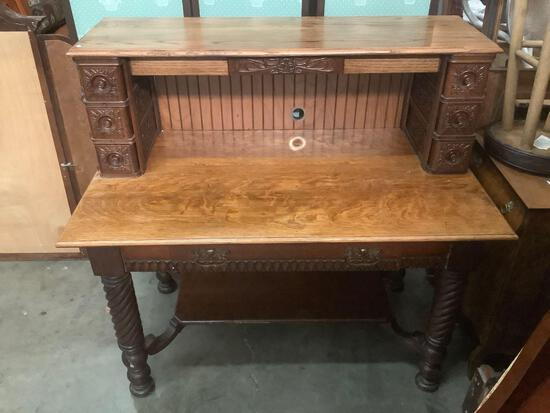 Vintage desk with modern backing added. approx 48x45x28 inches.