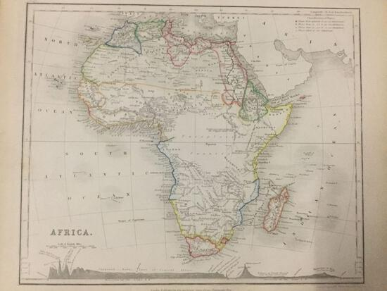 1853 engraving of map of Africa by J. Dower. approx 12x9.5 inches