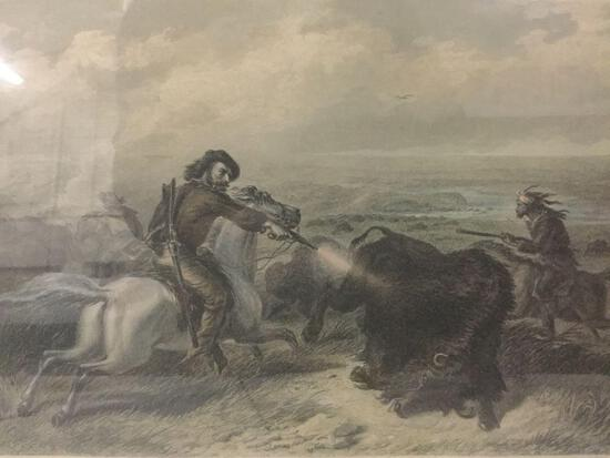 Antique hand tinted engraving of Hunting Buffaloes by Francis Hall. approx 14.5x11.5 inches.