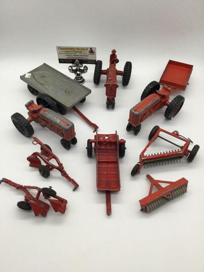 Vintage Hubley Kiddie Toy lot, tractors and trailers