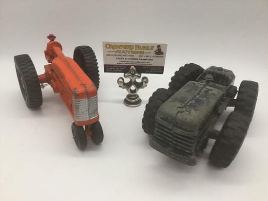 2 vintage Hubley Kiddie toy tractors