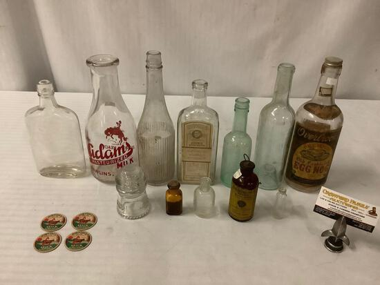 vintage glass bottles, insulator and milk bottle caps, Adams, Watkins, Overbrooks approx 10x4 inches