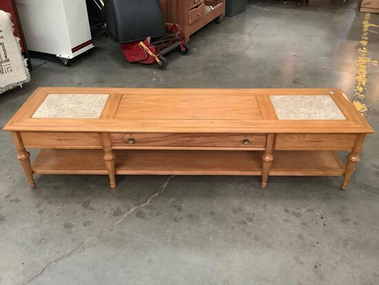 Vintage Heritage coffee table with 1 drawer and marble top pieces - made in Portugal
