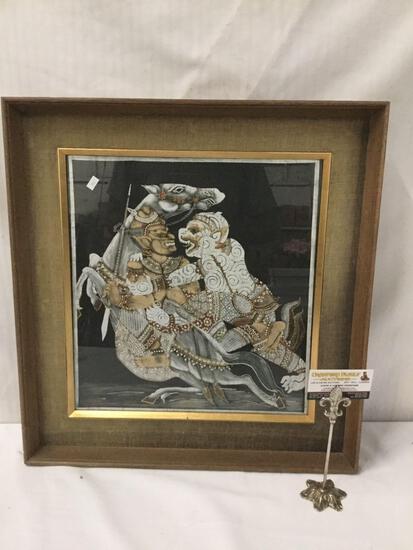 Framed Asian Temple print on textile.