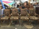 Collection of 8 vintage upholstered American map inspired wooden chairs. approx 41x26x25 inches