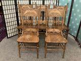 Five vintage wooden chairs w/swirling floral designs on backrest. Approx. 18x18x44 inches each.