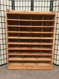 Large wooden mail sorter shelf. Approx. 39x10x50.5 inches.