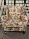 Pier 1 Imports armchair w/floral upholstery & cushion, approx. 32x27x37 inches.