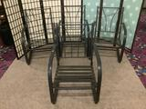 Four metal patio chairs, approx. 24x28x37 inches.