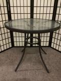 Metal & composite patio table, top needs to be secured to base, approx. 30x30x28 inches.