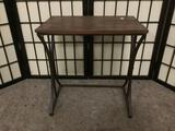 Small metal & wood display/end table, approx. 17x11x18 inches.