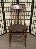 Antique wooden chair, measures approx. 18x22x41 inches.