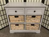 White two-drawer side table w/four wicker drawers. Approx. 30x13x28 inches.