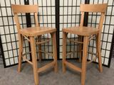 Pair of wooden IKEA chairs/stools, approx. 17x16x36 inches.
