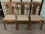 Three vintage wooden chairs w/floral seats, approx. 18x18x37 inches.