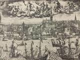 Long antique print of Amsterdam.