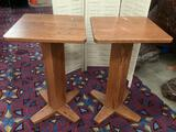 Pair of modern wooden tall bar tables, approx 23.5 x 23.5 x 40 inches.