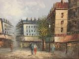 Original impressionist oil painting of street scene signed by artist.