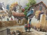 Original unsigned watercolor painting of street scene.
