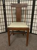 Vintage chair w/eggshell colored seat & some wear, see pics. Approx. 18x18x37 inches.