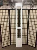 Ideal Pet Products transom window w/cat door, approx. 11.6x2x80 inches.