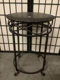 Squat wood & metal round end table, some minor wear, see pics.