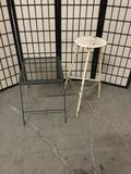 Vintage metal stool and patio table