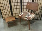 Vintage mid century floral upholstered chair with footstool