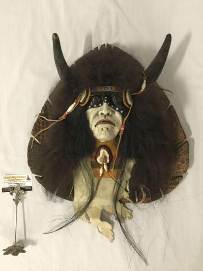 Crow Warrior - Native American wood carved bust, approx 19x19x6 inches