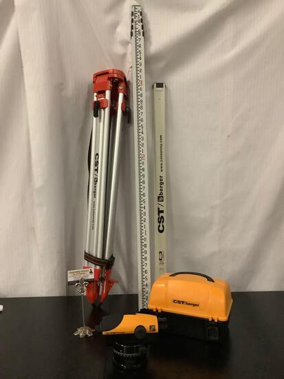 4 piece lot of CST/Berger survey equipment; tri-pod, 2 measuring tools, PAL Series Automatic Levels