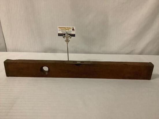 Antique circa late 1800s wood balance tool by Stanley Rule & Level Co. , approx 27 x 3 x 1 inches