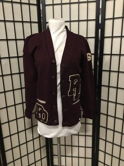 Vintage Kandel letterman wool cardigan sweater with patches. Pit to pit measures approx 17.5 inches.