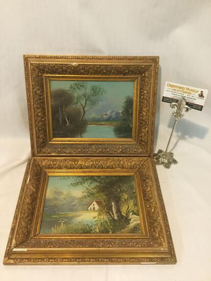 Pair of original nature scene paintings in matching vintage frames, one is signed by artist