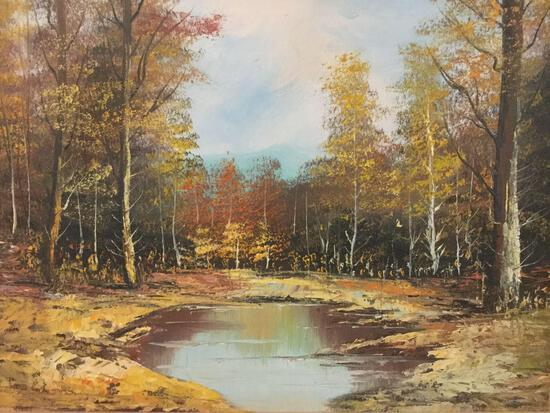 Vintage original canvas oil painting of a nature scene/trees by water by unknown artist