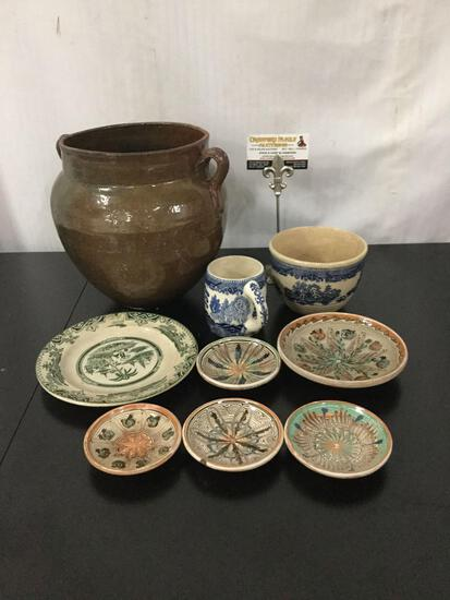 Collection of 9 vintage stoneware pieces. Plates, bowl, cup, urn and more.