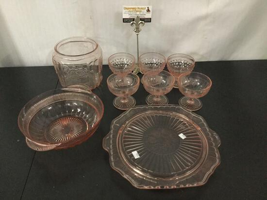 9 pieces of Anchor Hocking pink depression glass in Hobnail, Open Rose Mayfair & Coronation patterns