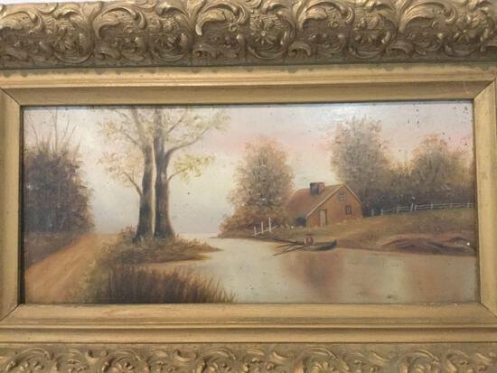Vintage framed original painting of man in boat by country home, artist unknown, approx 17 x 10 in.