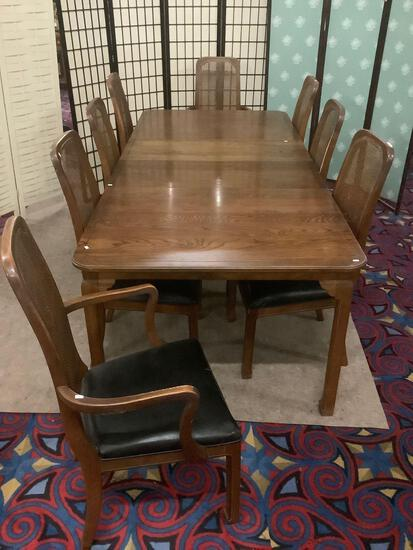 Vintage 60's oak dining table w/two leaves & 8 chairs, 1 chair reupholstered