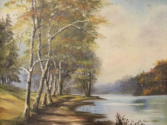 Framed vintage original canvas painting of trees by water signed by artist G. Kammeyer