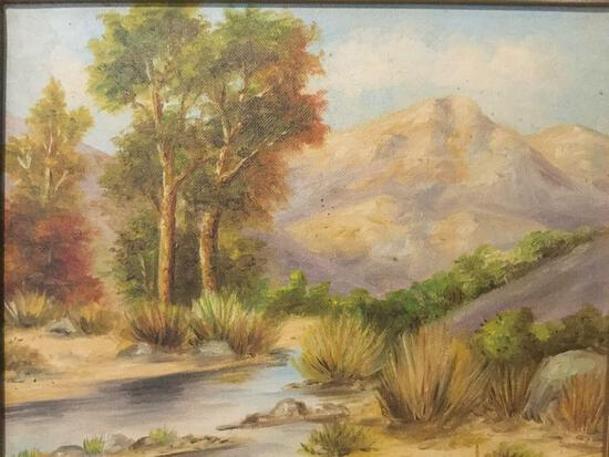 Framed vintage original California landscape painting by unknown artist, titled: Little Tujunga