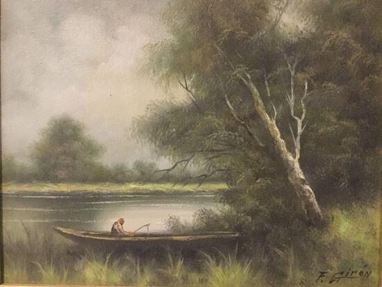 Man fishing in boat, ornately framed original nature scene painting signed by artist F. Giron
