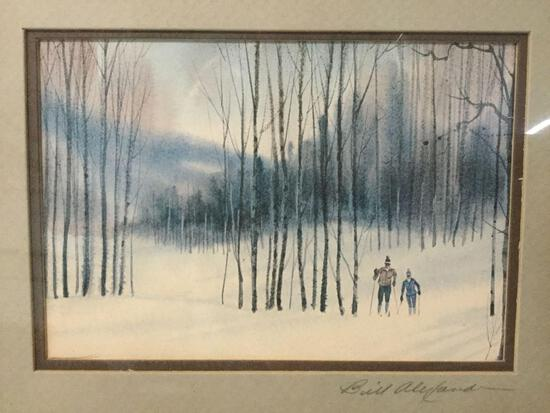 Framed original painting of cross country skiers in Vail, Colorado signed by artist Bill Alexander