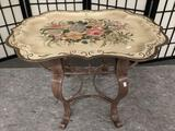 Vintage floral design hand painted metal tray stand small table, approx 27 x 20 x 17 inches