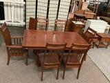 Wood Mission Style Dinning table with 6 chairs and 1 leaf extension, approx 30 x 42 x 84 inches