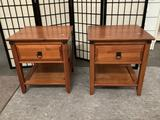 Pair of modern wood nightstands with 1 drawer, approx 18 x 20 x 22 inches.