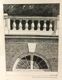 Framed hand signed architecture print of arch window by artist Whitehead. Approx 13x10 inches.