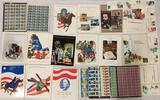 Collection of vintage US postal service commemorative mint stamp sets, full sheets, first day issue