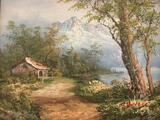 Vintage framed original oil painting of quaint home in woods, signed by artist
